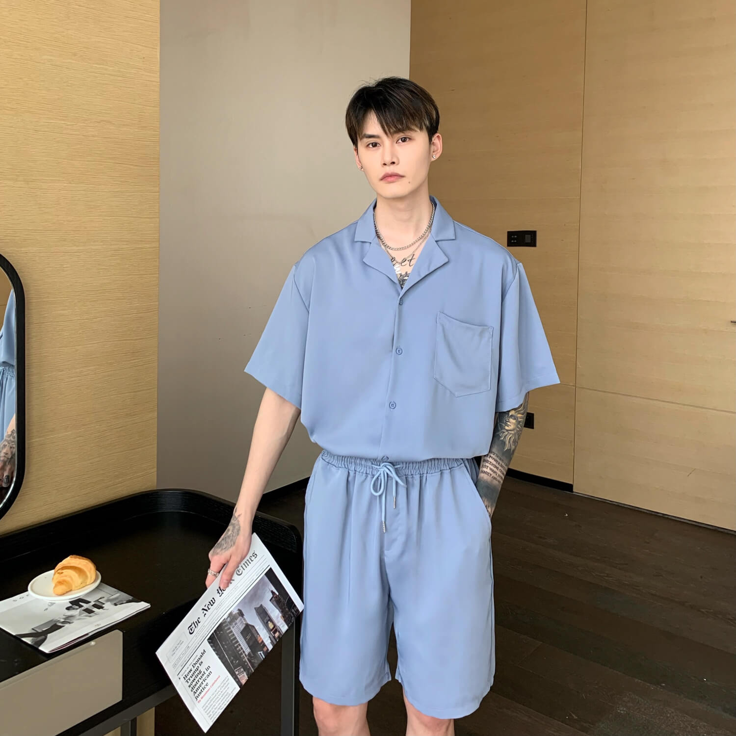 Cui Layout Studio Casual Neat Suit Shirt & Shorts Blue