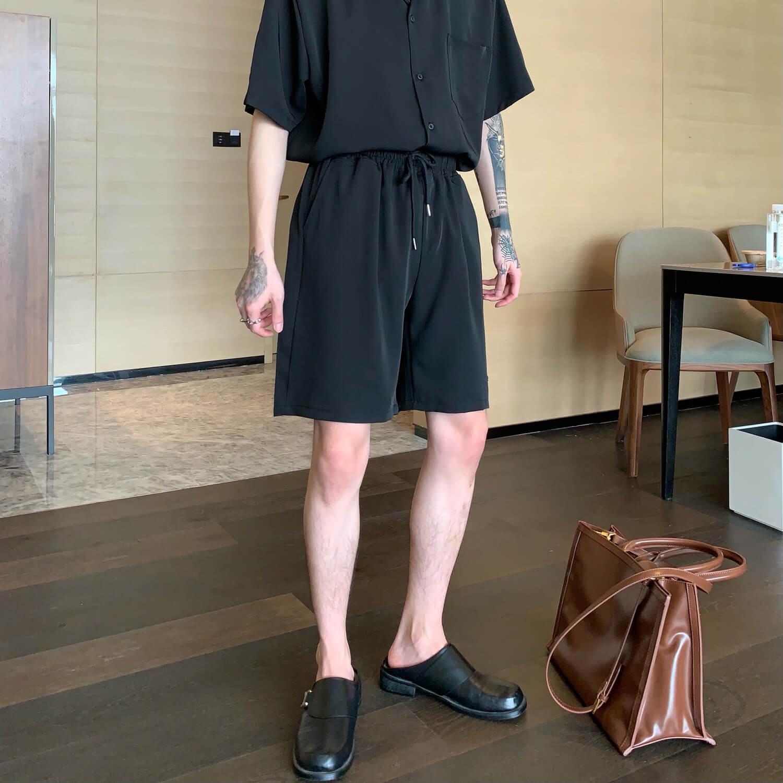 Cui Layout Studio Casual Neat Suit Shirt & Shorts Black