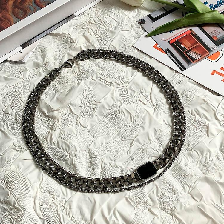 Колье SAZ Studio Imitation Black Gem Combo Necklace (10)