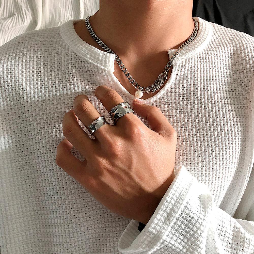 Кольца SAZ Studio Crumpled Rings Wide & Thin (3)