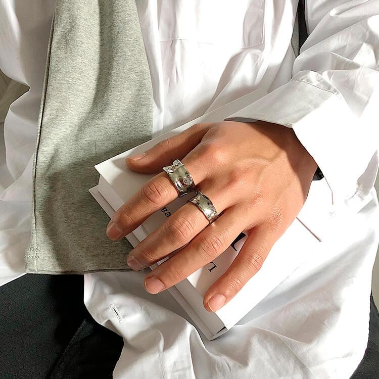 Кольца SAZ Studio Crumpled Rings Wide & Thin (9)