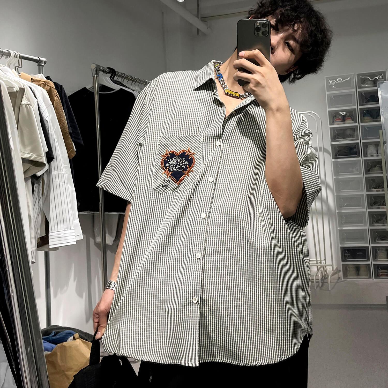 Рубашка GB Studio Heart Embroidered Plaid Shirt (1)