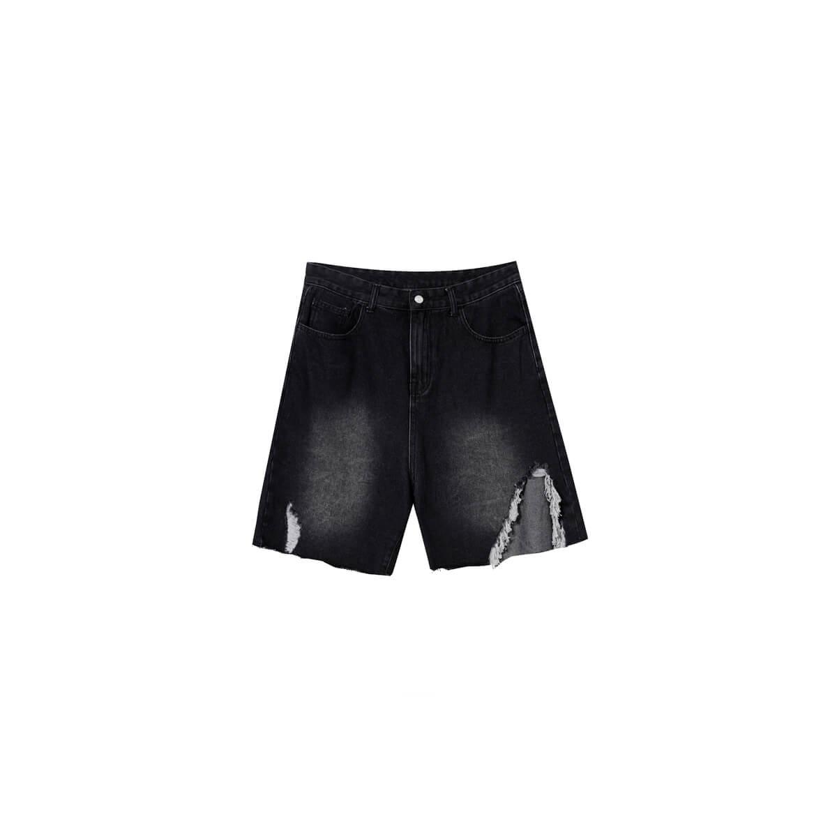 Шорты Cui Layout Studio Ripped Split Denim Shorts Black