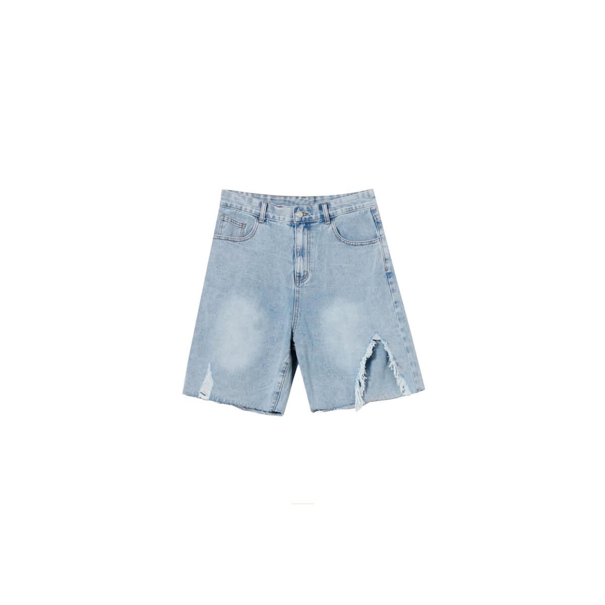 Шорты Cui Layout Studio Ripped Split Denim Shorts Light Blue