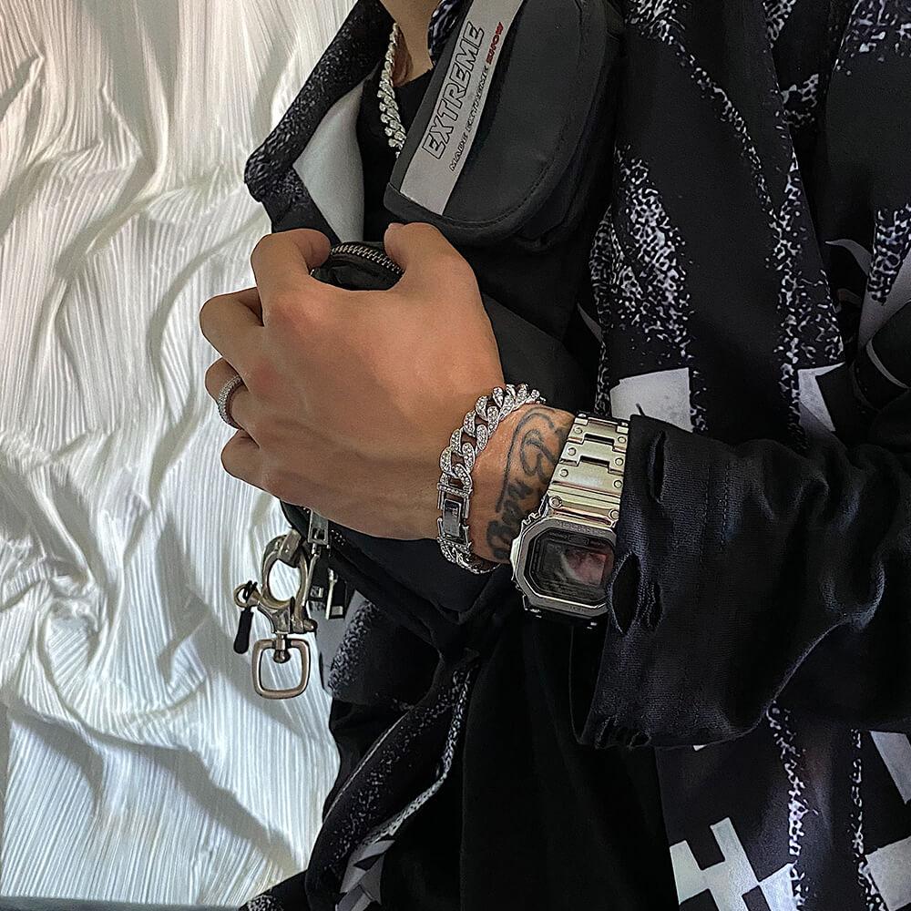 Браслет SAZ Studio Cuban Inlaid Silver Bracelet (1)