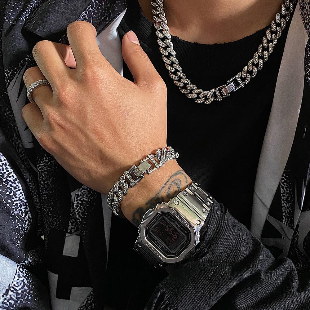Браслет SAZ Studio Cuban Inlaid Silver Bracelet (2)