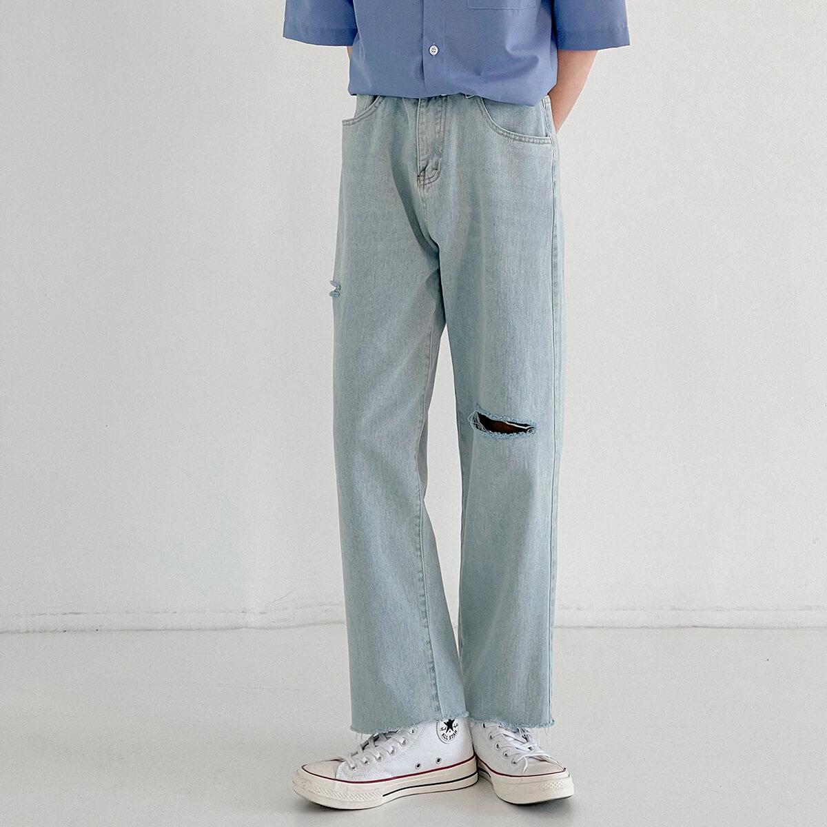 Джинсы DAZO Studio Jeans Torn Knee Raw Material Bottom (2)