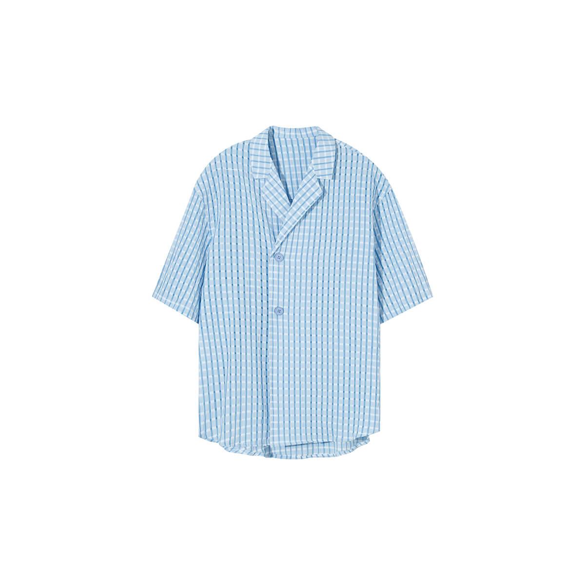 Рубашка Cui Layout Studio Lightweight Shirt Lattice Texture Light Blue