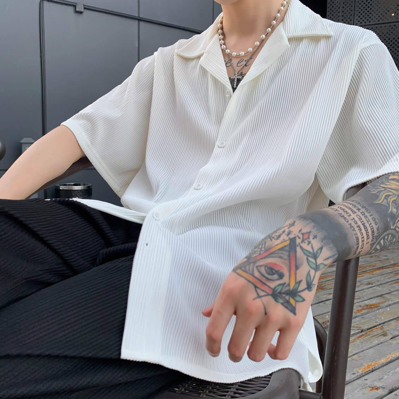Рубашка Cui Layout Studio Shirt Cuban Collar Vertical Texture (1)