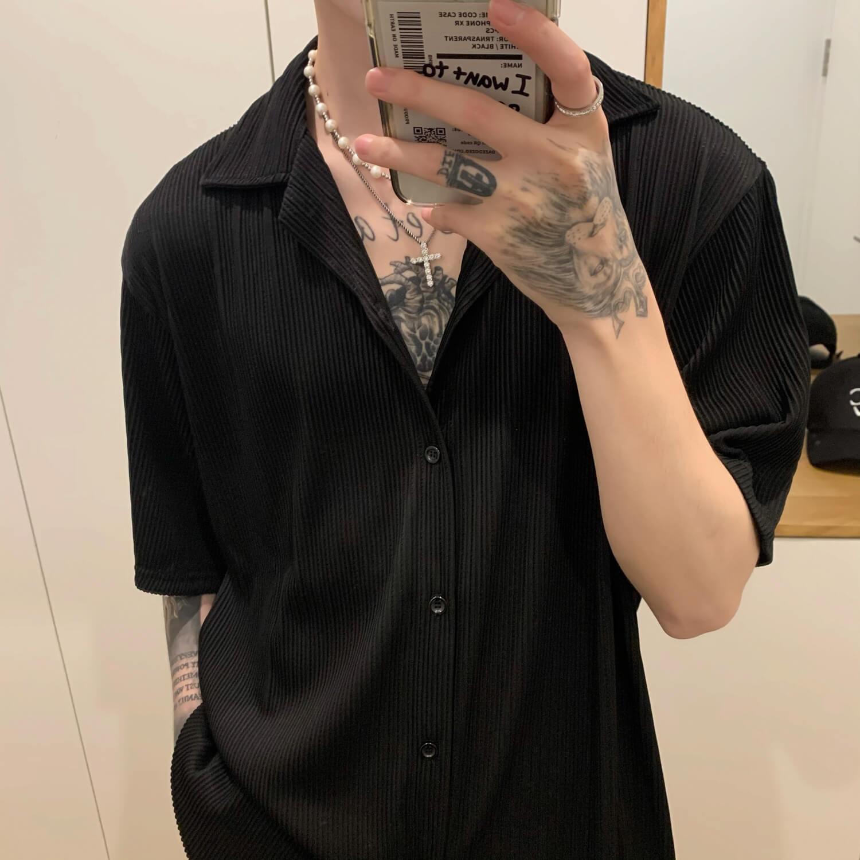 Рубашка Cui Layout Studio Shirt Cuban Collar Vertical Texture (11)