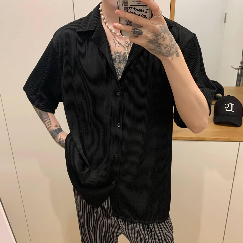 Рубашка Cui Layout Studio Shirt Cuban Collar Vertical Texture (12)