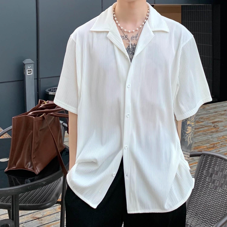 Рубашка Cui Layout Studio Shirt Cuban Collar Vertical Texture (2)
