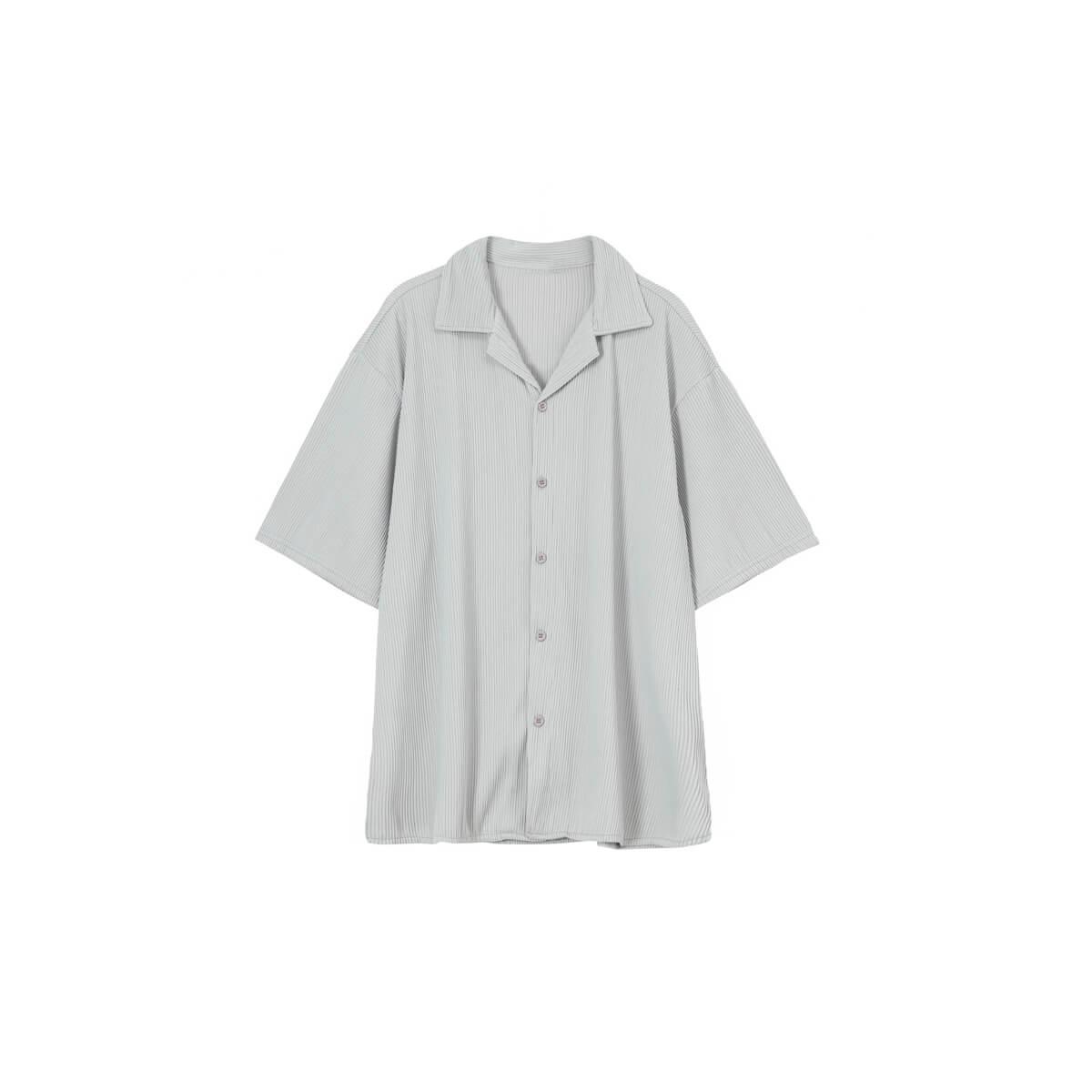 Рубашка Cui Layout Studio Shirt Cuban Collar Vertical Texture Gray