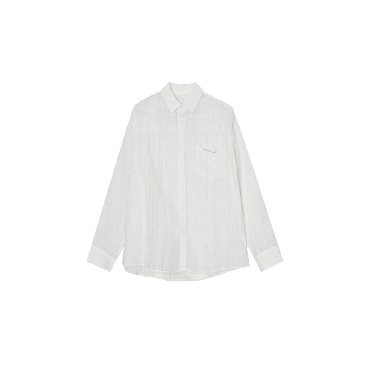 Рубашка Cui Layout Studio x Hyeinseo Shirt Lettering Texture White