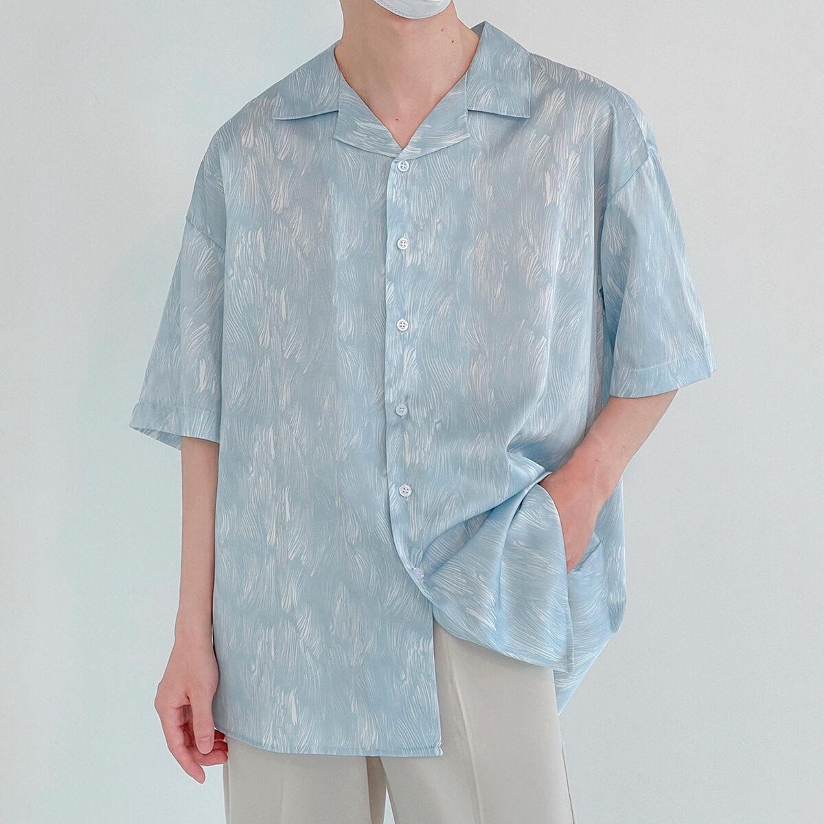 Рубашка DAZO Studio Silk Shirt Brush Strokes Pattern (1)