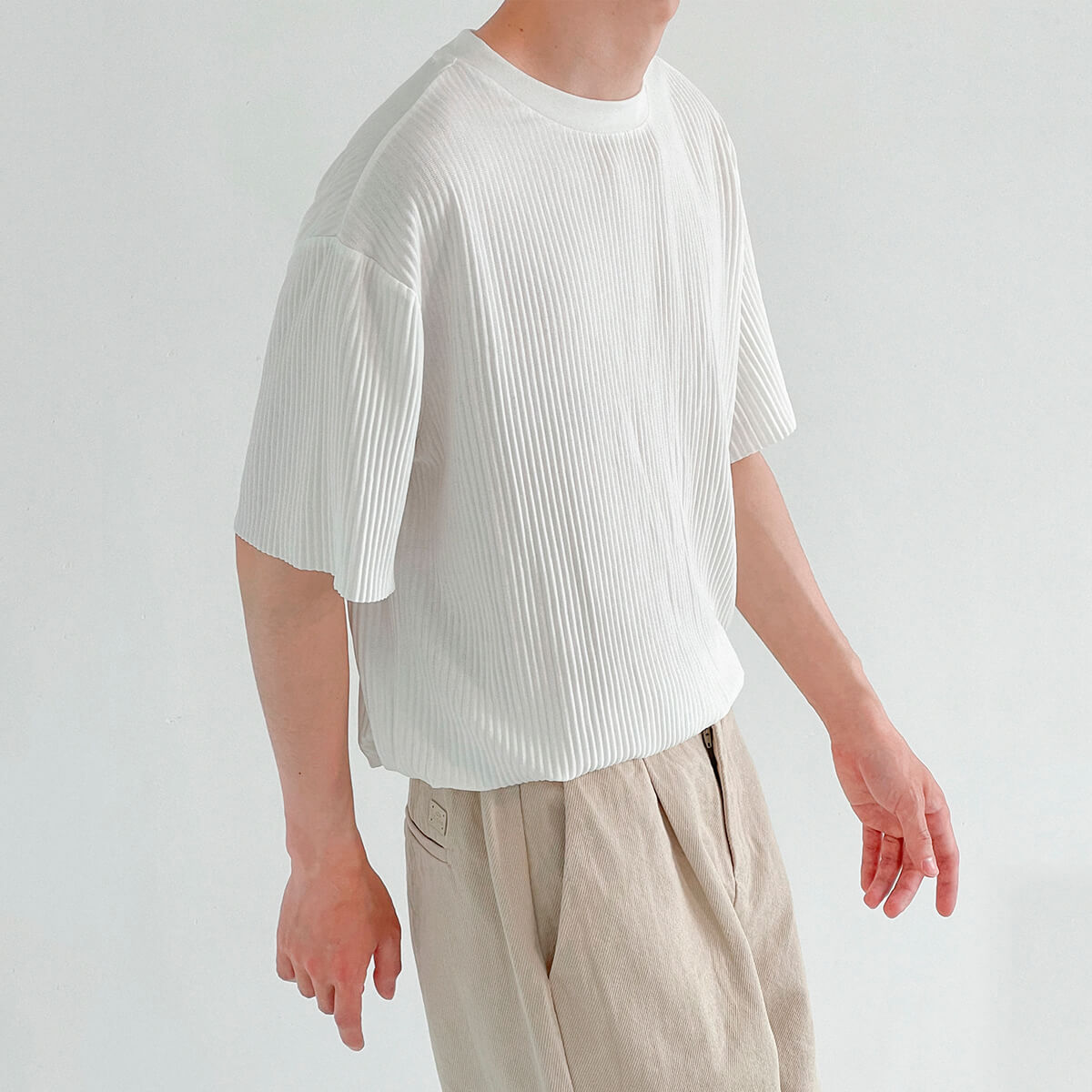 Футболка DAZO Studio Pleated Stretch T-Shirt Vertical Texture (1)