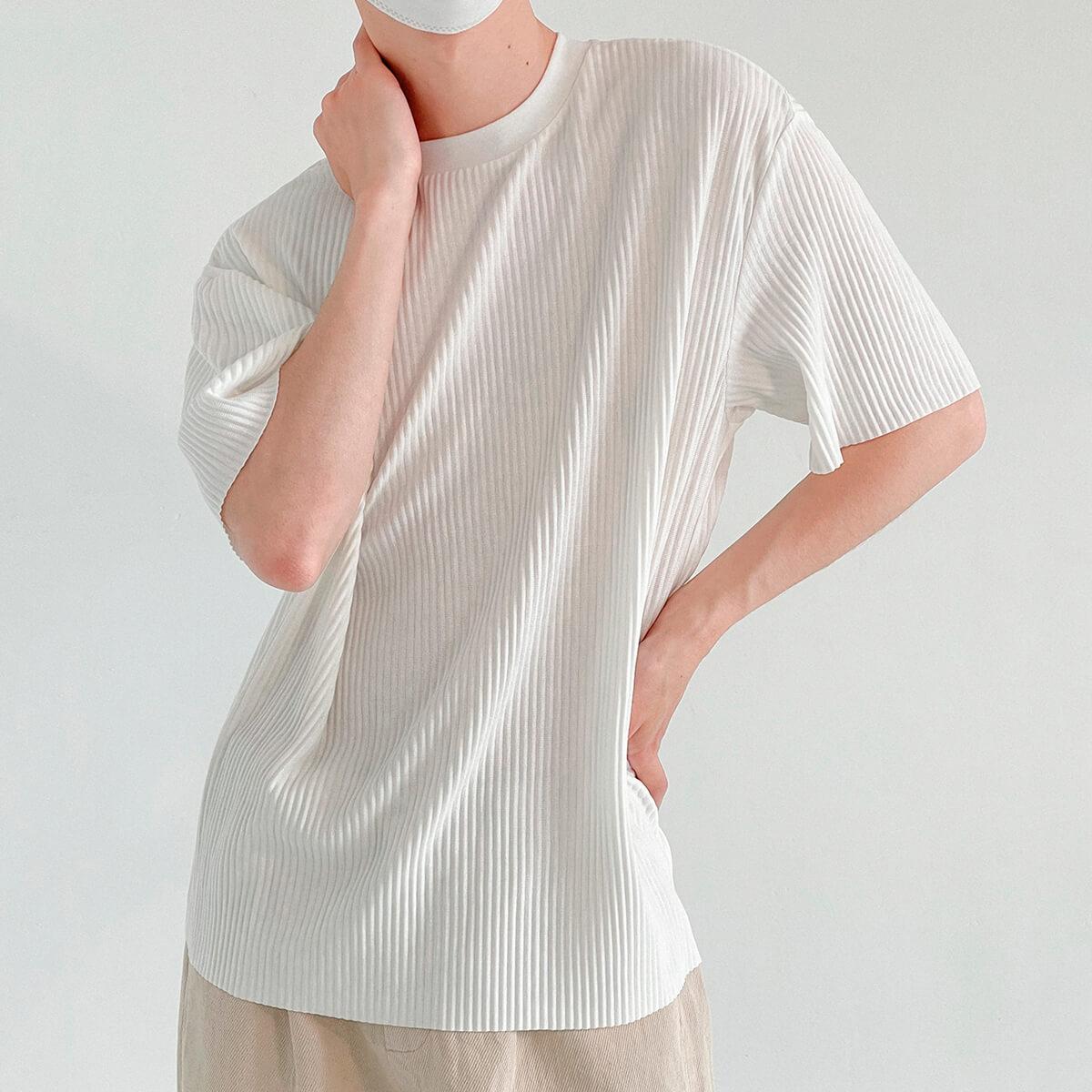 Футболка DAZO Studio Pleated Stretch T-Shirt Vertical Texture (2)