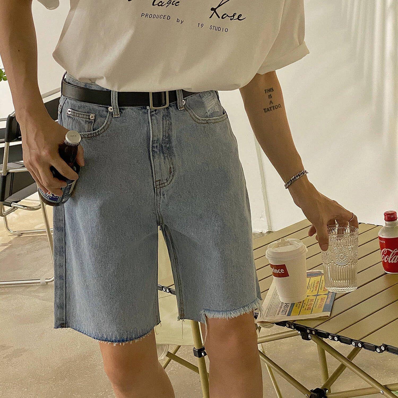 Шорты 19 Studio Denim Shorts Raw Stitching Bottom (1)