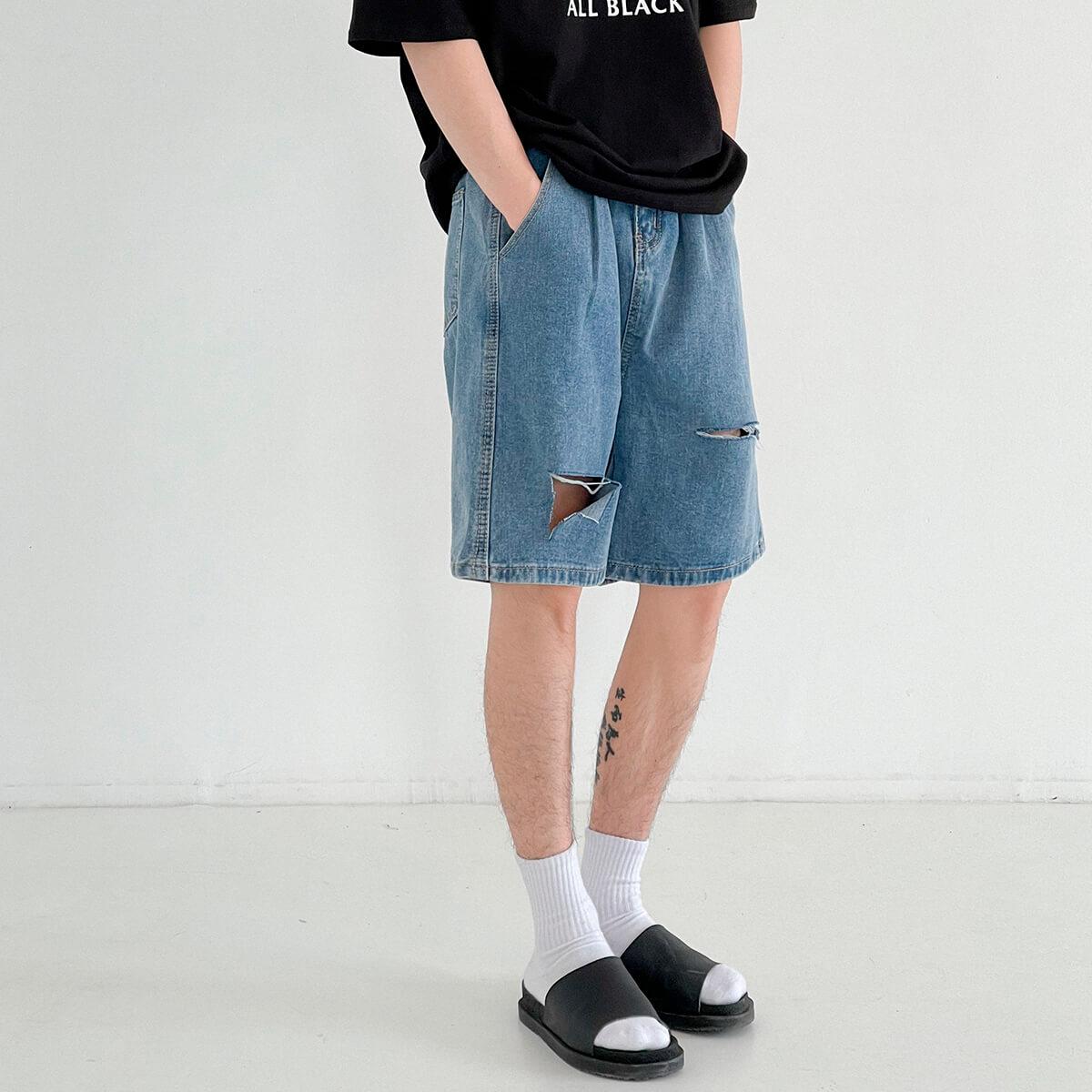 Шорты DAZO Studio Denim Shorts Ripped Raw Design (1)