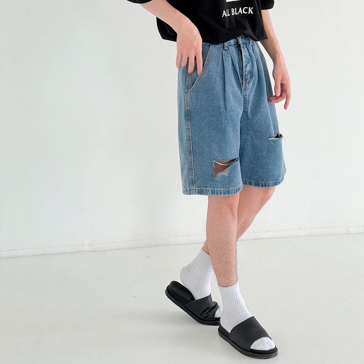 Шорты DAZO Studio Denim Shorts Ripped Raw Design (2)