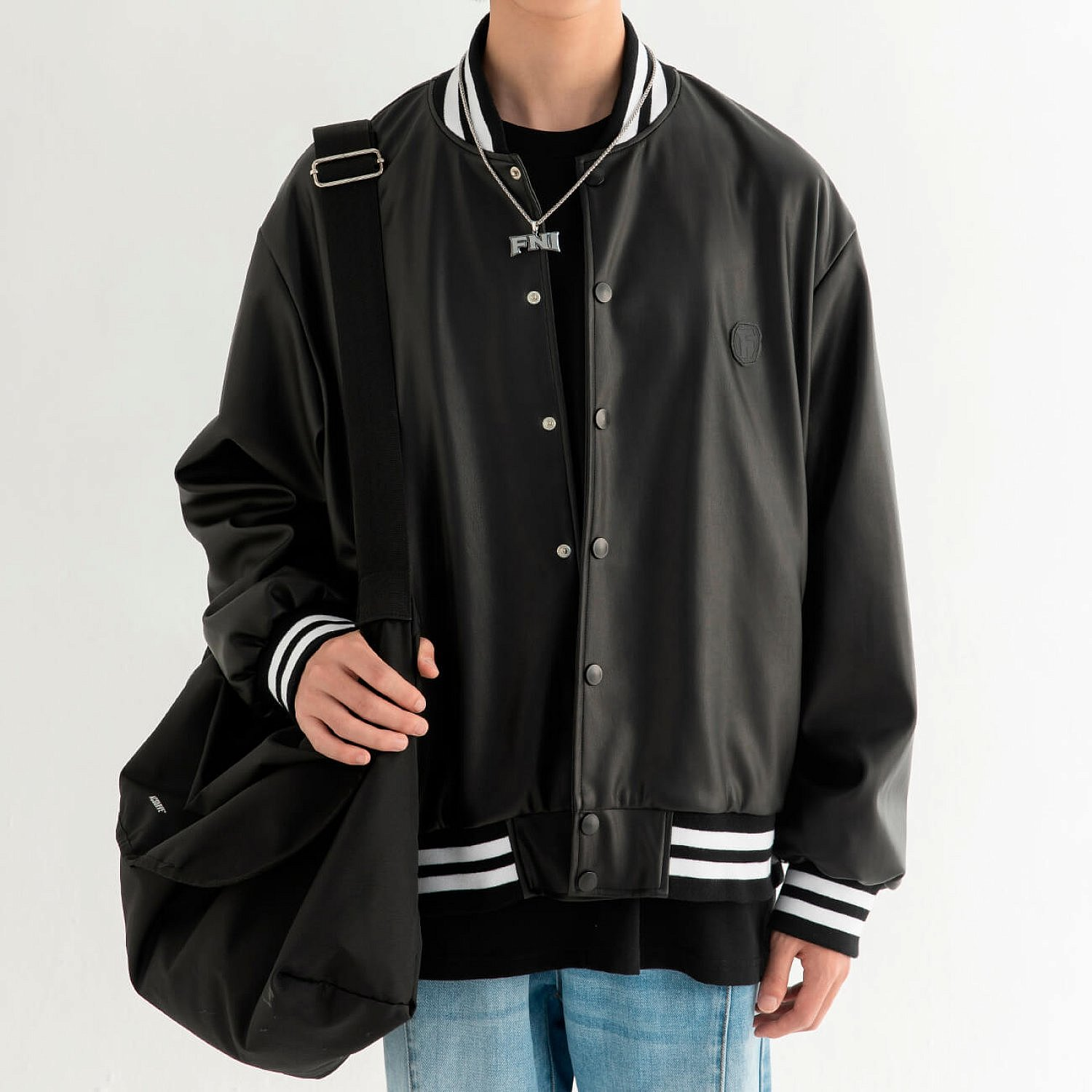 Бомбер DL Studio Faux Leather Bomber (1)