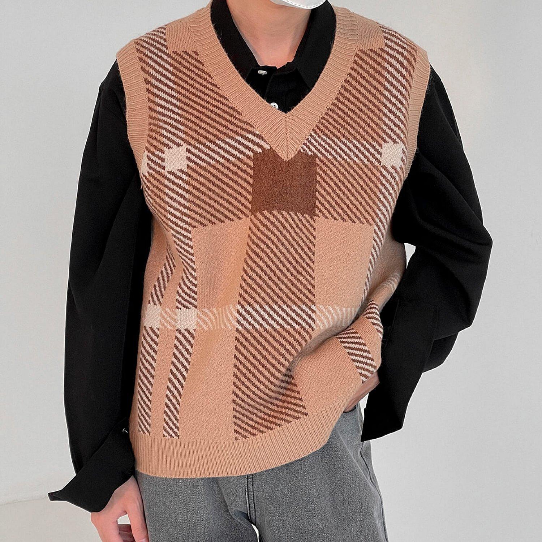 Жилет DAZO Studio Knitted Vest V-Neck Square Pattern (1)
