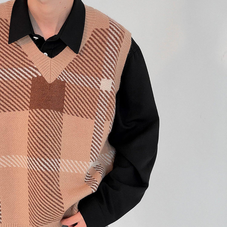 Жилет DAZO Studio Knitted Vest V-Neck Square Pattern (2)