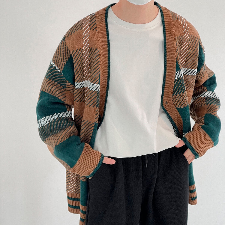 Кардиган DAZO Studio Knitted Cardigan V-Neck Abstract Pattern (1)