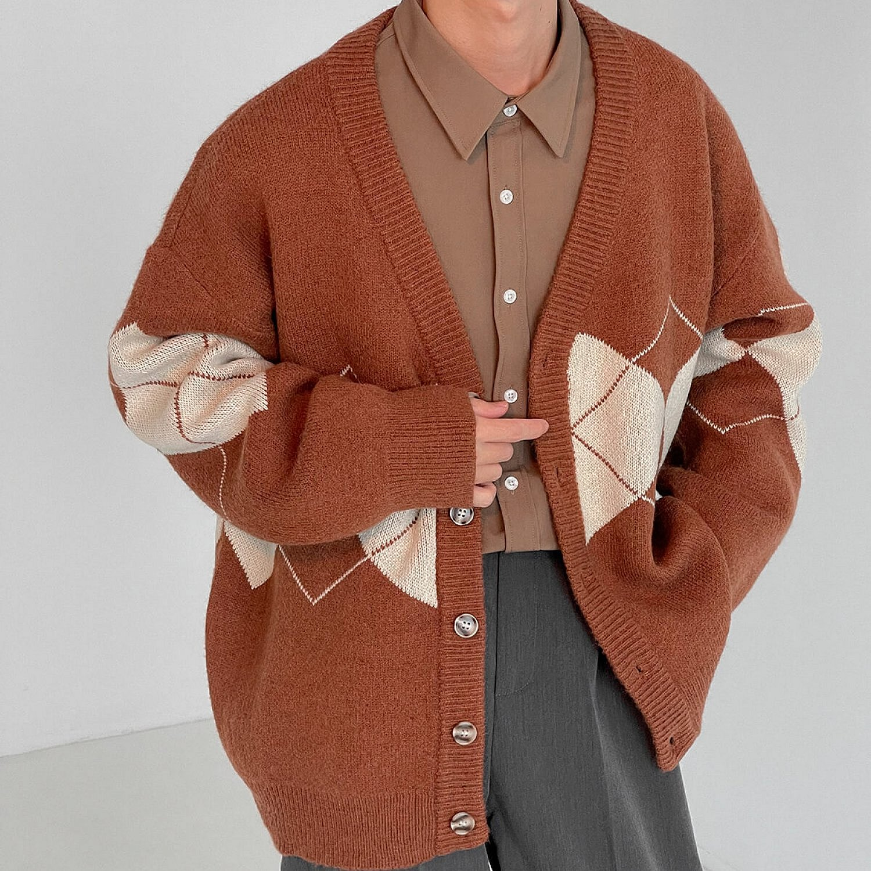 Кардиган DAZO Studio Knitted Cardigan V-neck Diamond Pattern (1)