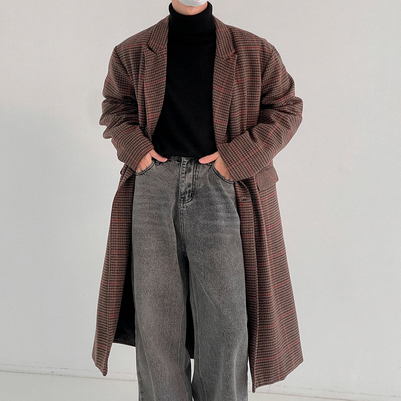 Пальто DAZO Studio Plaid Long Wool Coat (1)