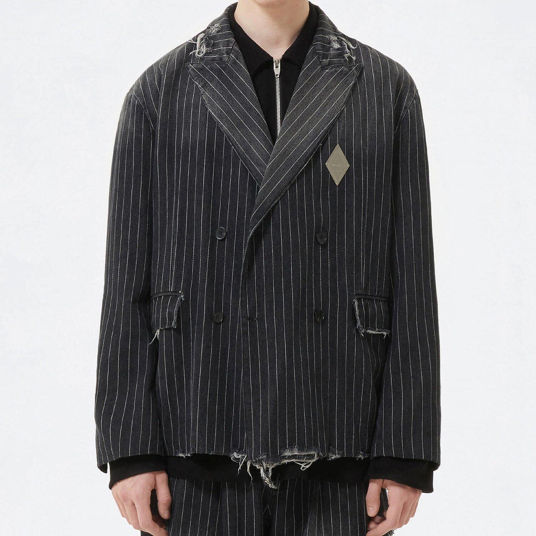Блейзер 2GUNS Denim Frayed Striped Blazer (1)