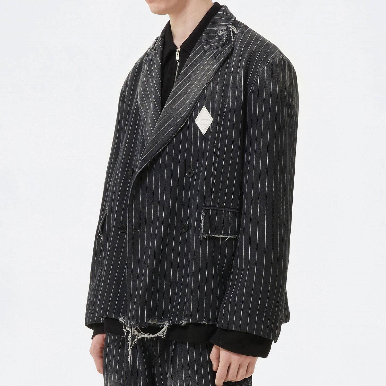 Блейзер 2GUNS Denim Frayed Striped Blazer (2)