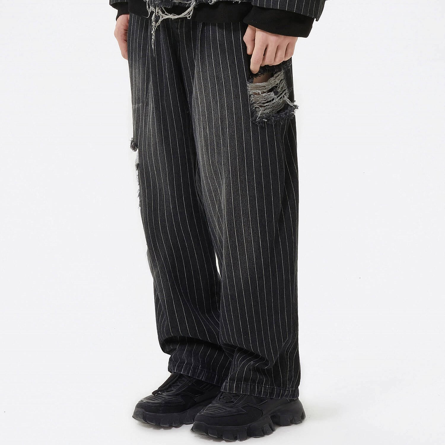 Джинсы 2GUNS Washed Ripped Striped Jeans (2)