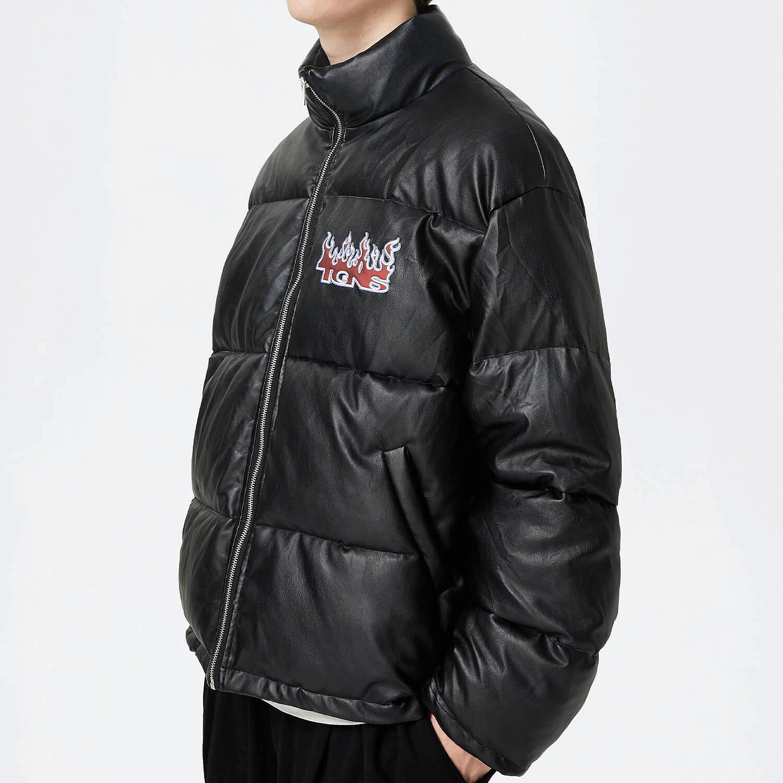 Пуховик 2GUNS Down Jacket Faux Leather Flame (2)