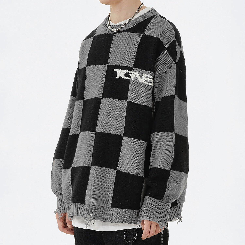 Свитер 2GUNS Ripped Knit Sweater Chess Pattern (2)